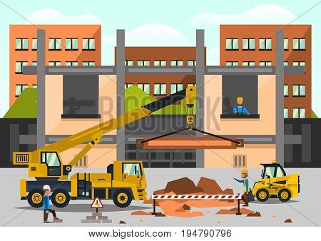 Construction site. Staff working on the construction on the background of the city. Crane car, truck. Dripping, lift, dragged. Work tool. Business, special equipment. Vector illustration.