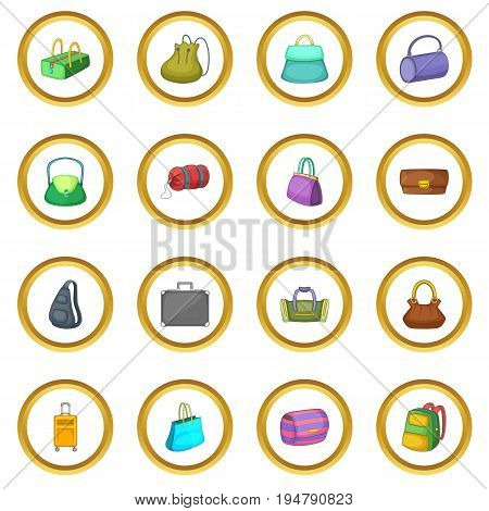 Different bagage icons circle gold in cartoon style isolate on white background vector illustration