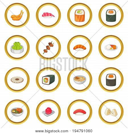Japanese food icons circle gold in cartoon style isolate on white background vector illustration
