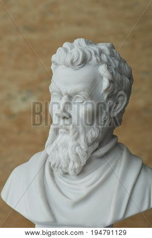 Statue of Michelangelo, ancient Italian creative artist.
