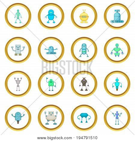 Robot icons circle gold in cartoon style isolate on white background vector illustration