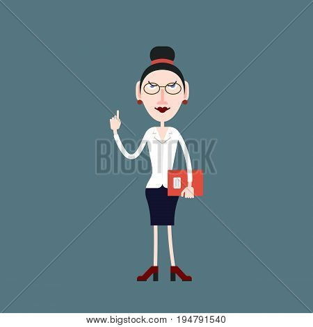 Teacher woman in glasses gets attention by lifting her finger up in the other hand he holds a folder with documents