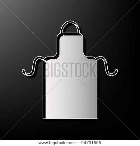 Apron simple sign. Vector. Gray 3d printed icon on black background.