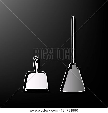 Dustpan vector sign. Scoop for cleaning garbage housework dustpan equipment. Vector. Gray 3d printed icon on black background.