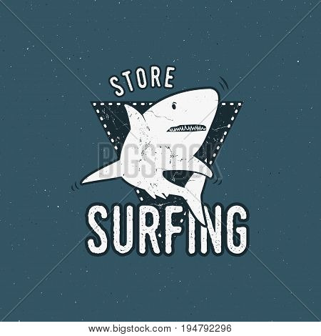 Surfing store emblem design. Shark on a triangle sheld. Retro rough style. Surfing logo template isolated on blue background. summer insignia.