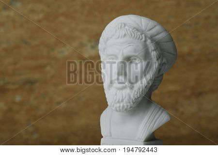 Statue of Pythagoras, ancient Greek mathematician and geometer.