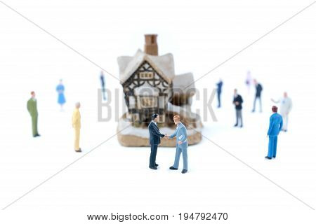 Miniature People Shaking Hands, Business Concept.
