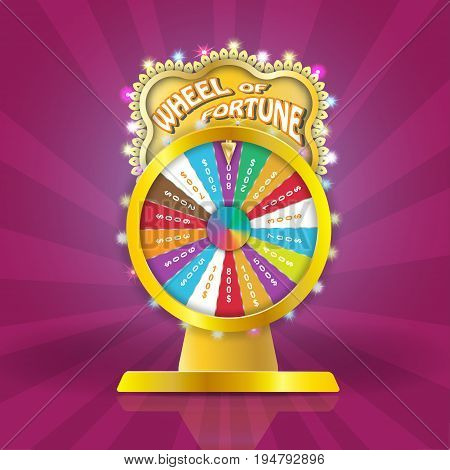 Wheel of fortune 3d object, lucky roulette in flat vector style.