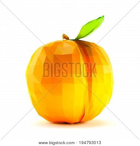 Single low polyapricot with stem and leaf isolated on white background. 3d render