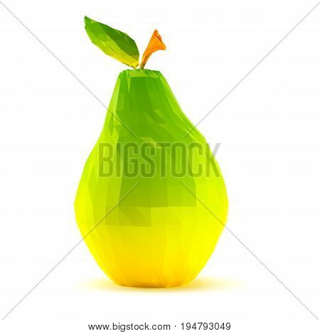 Single low poly pear with stem and leaf isolated on white background. 3d render