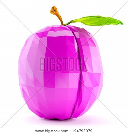 Single low poly plum with stem and leaf isolated on white background. 3d render