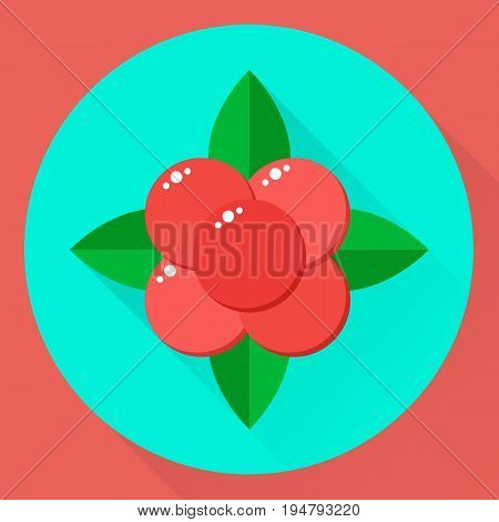 Vector Illustration, Flat Round Icon Stone Bramble, Forest Red B