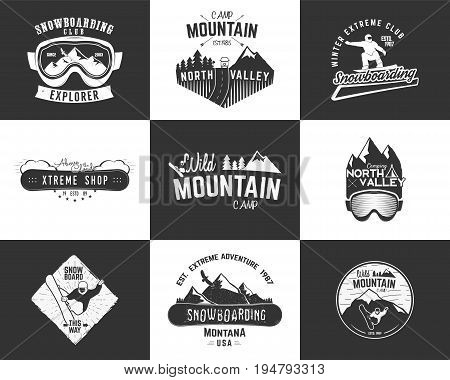 Set of Snowboarding extreme logo and label templates. Winter snowboard sport store badges, emblems. Mountain Adventure insignias with snowboarders man, rv symbol. vintage monochrome style.