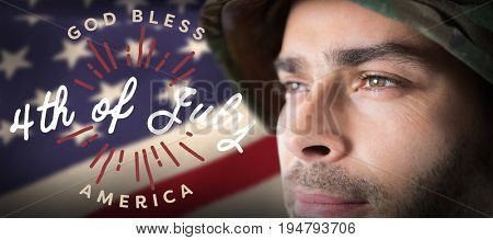 Close up of thoughtful soldier against digitally generated image of happy 4th of july message