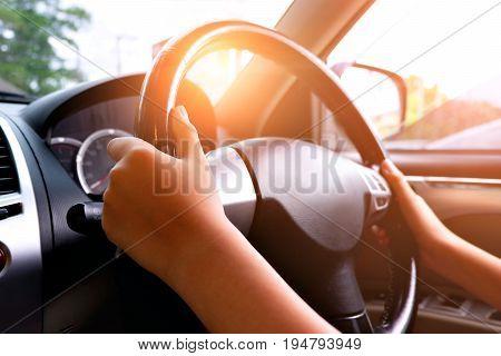 Man driving car. Ray light added .