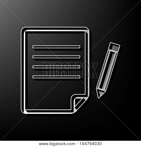 Paper and pencil sign. Vector. Gray 3d printed icon on black background.