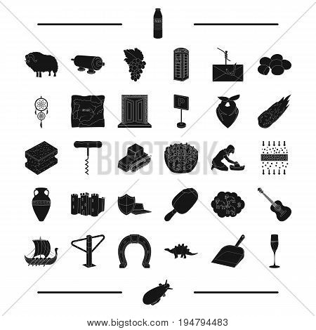 food, computer, transportation and other  icon in black style. tool, England, Viking icons in set collection.