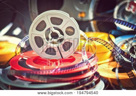 vintage 8mm film concept of movie industry