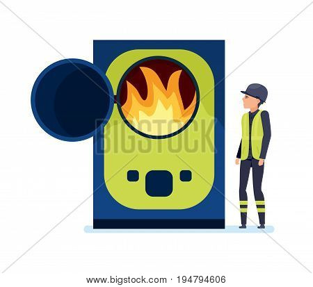 Worker burns garbage in a special oven, sorts garbage and recycles. Cleaning city. Household waste, recycling. Recycling of industrial waste. Illustration isolated in cartoon style.