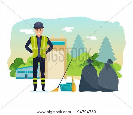 Worker collects garbage, sorts by bags and by type of garbage, for further processing of household waste. Cleaning city. Household waste, recyservice recycling. Illustration isolated in cartoon style.