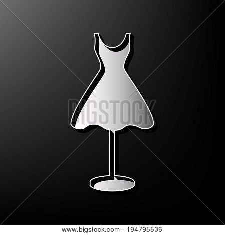 Mannequin with dress sign. Vector. Gray 3d printed icon on black background.
