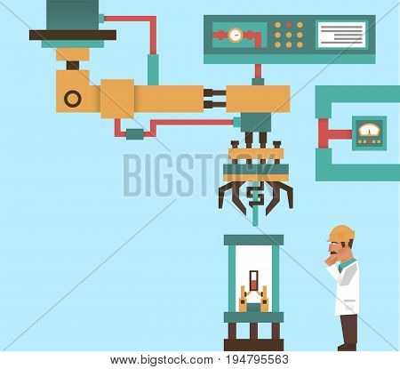 Robotic system, advanced technology, information graphics. Engineer, Professor at work. The production process. Computer, electronics, wires robot arm laser tentacles Vector illustration