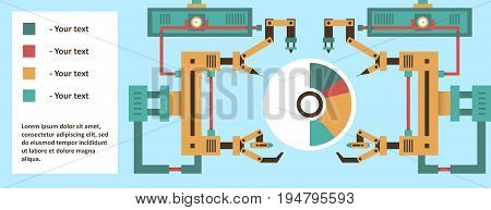 Robotic system, advanced technology, information graphics. The production process. The future development. Computer, electronics, wires, robot arm, laser tentacles. Vector illustration.