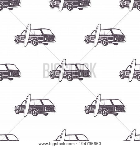 Surfing old style car pattern design. Summer seamless wallpaper with surfer van, surfboards. Monochrome combi car. Vector illustration. Use for fabric printing, web projects, t-shirts or tee designs