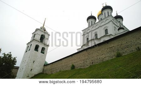 View of the Pskov Kremlin and its walls from the embankment of the river Pskova