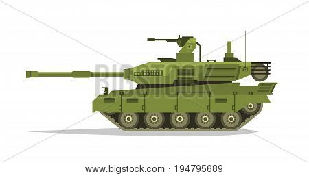 Military tank. Heavy Equipment. Armored Corps. A lot of iron. Cannon, optical review submachine gun, shells. Tracked vehicles. Equipment for the war. The attack on the enemy. Vector illustration.