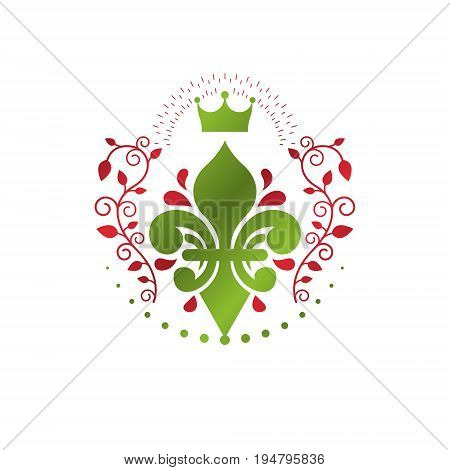 Victorian colorful emblem composed using lily flower and monarch crown. Royal quality award vector design element business label.