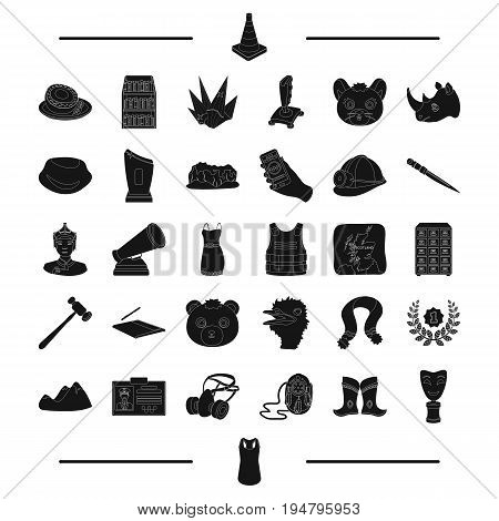 clothing, cinema, Mongolia and other  icon in black style. journey, computer, mine icons in set collection.