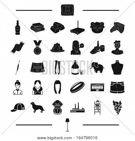 service, clothing, appearance and other  icon in black style. style, animal, industry, alcohol icons in set collection.