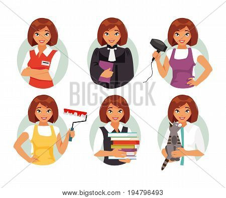 Set of different female occupations. Seller judge hairdresser painter veterinarian teacher Vector illustration
