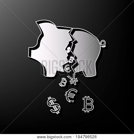 Pig money bank sign. Vector. Gray 3d printed icon on black background.