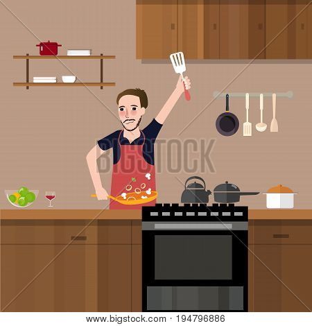 man in kitchen cooking stir fry preparing food vegetable healthy meal alone vector