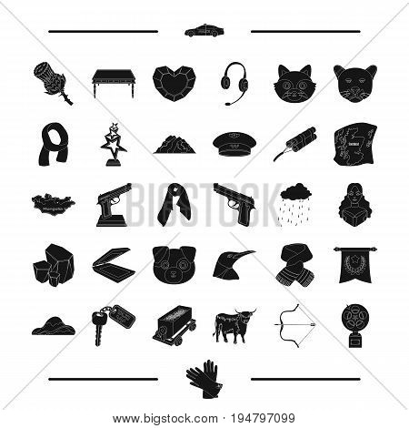 jewel, weapon, animal and other  icon in black style.travel, taxi, mine, symbol icons in set collection.