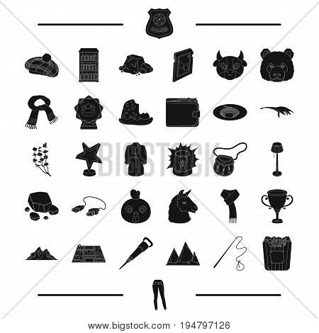 movie, reward, animal and other  icon in black style. clothing, travel, Scotland, icons in set collection.