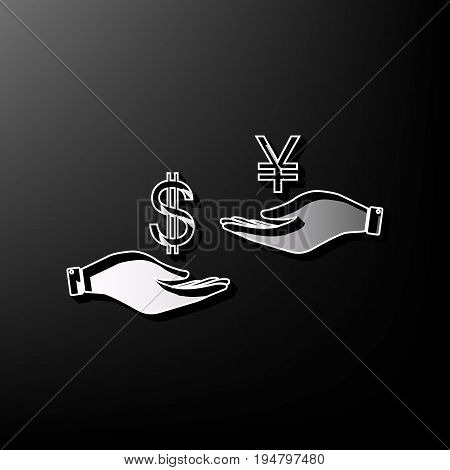 Currency exchange from hand to hand. Dollar and Yen. Vector. Gray 3d printed icon on black background.