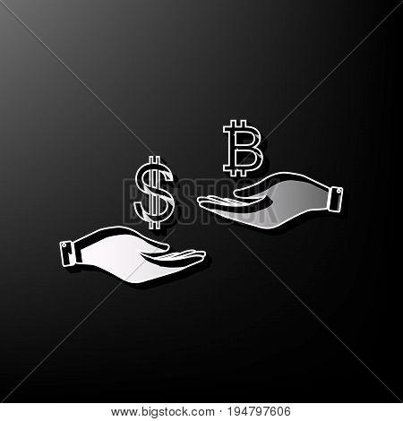 Currency exchange from hand to hand. Dollar and Bitcoin. Vector. Gray 3d printed icon on black background.