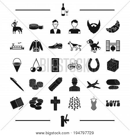pub, clothing, alcohol and other  icon in black style. animal, transport, appearance icons in set collection.