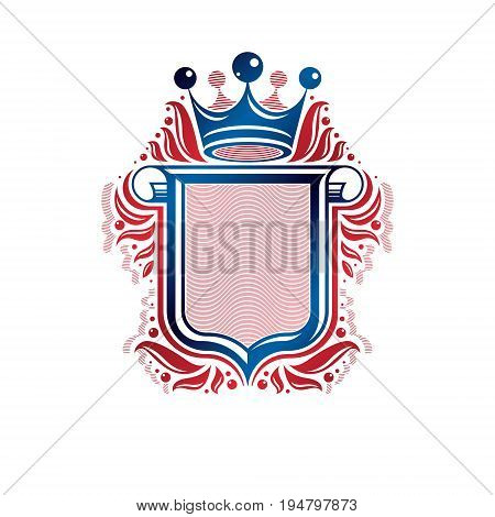 Blank heraldic design with copy space and cartouche vector vintage protection shield emblem decorated with royal crown and rolled-up ends.