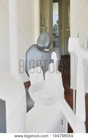 Close up of the empty chair and equipment at a dental surgery in a healthcare dentistry and medical concept