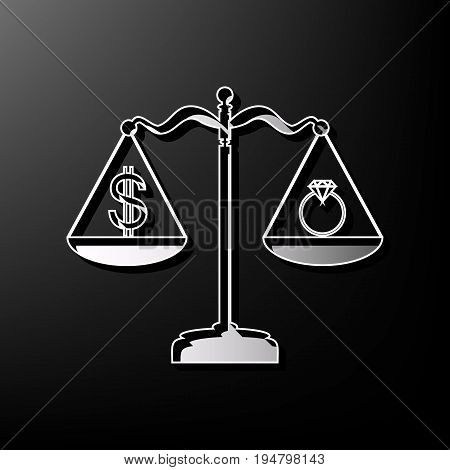 Ring jewelery and dollar symbol on scales. Vector. Gray 3d printed icon on black background.