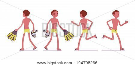Young slim man with flippers and mask, in swimming trunks, tanned complexion, enjoying holiday, walking, running. Front, rear view. Vector flat style cartoon illustration, isolated, white background