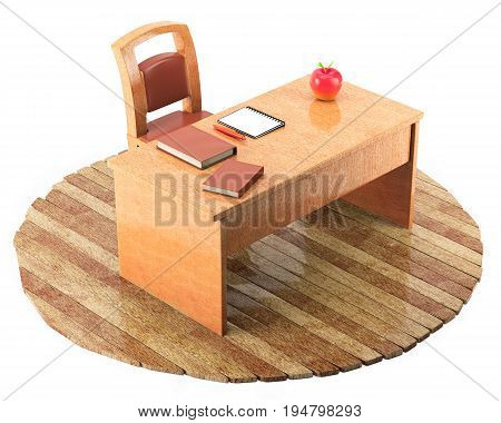 Teacher table with a chair books notebook and pen on wooden floor isolated on white background. 3d rendering