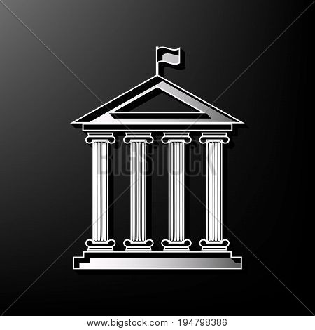 Historical building with flag. Vector. Gray 3d printed icon on black background.