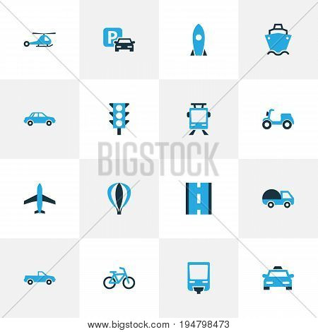 Shipment Colorful Icons Set. Collection Of Stoplight, Tanker, Missile And Other Elements. Also Includes Symbols Such As Missile, Traffic, Caravan.