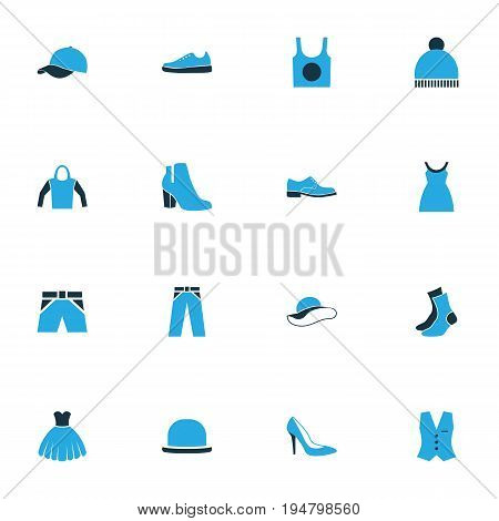 Clothes Colorful Icons Set. Collection Of Shorts, Beanie, Socks And Other Elements. Also Includes Symbols Such As Sweatshirt, Sox, Underwear.