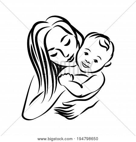 Mother with her baby. Stylized outline symbol. Motherhood love mother care. Silhouette icon logo sign. Vector illustration